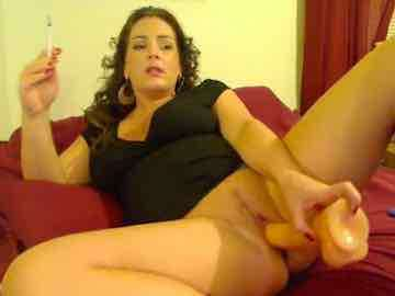 Mature Webcam Lady Smoking While Pounding Herself With Dildo