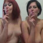 Euro Lesbian Couple Smoking And Kissing