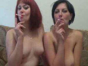 Euro Lesbian Couple Smoking And Kissing