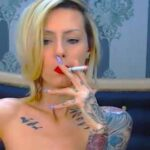 Slender Tattooed Lady Live Smoking Fetish